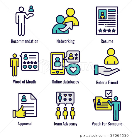 Employee Referral Process Icon Set with 57064550