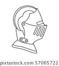 Line art black and white historycal helmet 57065722