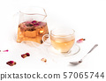 Rose tea on white table 57065744