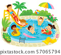 Kids having fun in a swimming pool with a water slide and floaties 57065794
