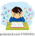 Confused kid looking at letters and numbers flying out of a book 57065841