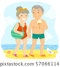 Happy older couple in swimsuits holding hands and walking on the beach 57066114