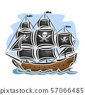 Vector pirate sailing ship 57066485