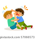 Two angry little boys hitting each other in a fist fight 57066573