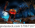 3d rendering of Jack-o-lantern The Pumpkin monster walking in the graveyard with nightmare scary scene background, design for party invitation brochure concept. 57067167