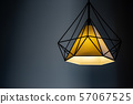 Modern lamp hanging down from ceiling in the dark 57067525