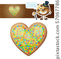 Colorful sprinkles heart cookie illustration 57067786