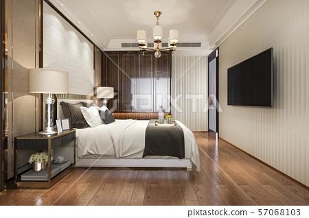 modern bedroom suite in hotel with wardrobe  57068103