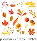 Set of stylized autumn items. 57068928