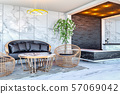 Interior of modern hotel lobby area and reception desk, 3D Rendering  57069042