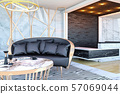 Interior of modern hotel lobby area and reception desk, 3D Rendering  57069044