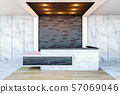 Interior of modern hotel lobby area and reception desk, 3D Rendering  57069046