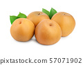 Fresh asian pear with leaf isolated on white background 57071902