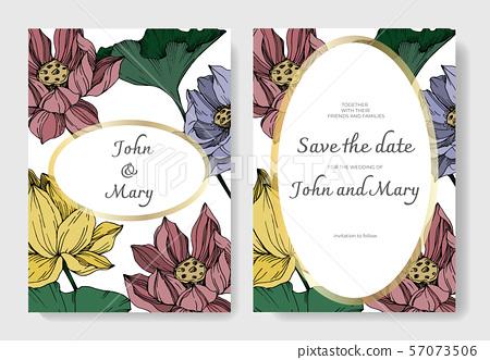 Vector Lotus floral botanical flowers. Black and white engraved ink art. Wedding background card 57073506