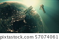 cosmonaut fly near Space Station under blue light 57074061