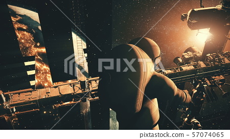 astronaut rotates by International Space Station 57074065