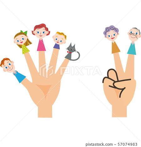 特寫家庭和三代家庭手指木偶 57074983