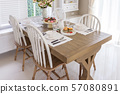 Table set on wood dinning table at home, Modern 57080891