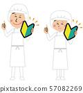 급식 직원 or 식품 공장의 남녀가 초보자 마크를 가진 57082269