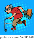 Active old man with shopping 57085140