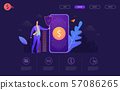 Bitcoin transfer wallet Hand holds smart phone with send bitcoins. Vector flat illustration 57086265