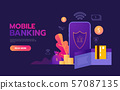Money transaction around world, business, mobile banking and mobile payment. Vector illustration 57087135