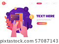 Online banking, mobile payment, pay per click, money transfer concept. Flat design style vector 57087143