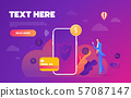 Money transaction around world, business, mobile banking and mobile payment. Vector illustration 57087147