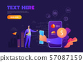 Business mobile application vector isometric illustrations 57087159