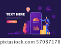 Business mobile application vector isometric illustrations 57087178