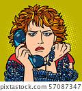 woman upset sad. human emotion. telephone conversation 57087347