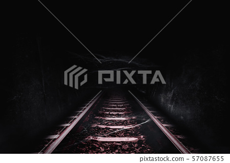 Dark tunnel of the railway 57087655