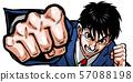펀치, 권투, 정장, 정장, 사업가, 상반신, 격투, 남자, 때리는 주먹, 혈액, 땀 57088198