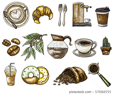 Watercolor illustration set of coffee on white background and clipping part for your design. 57088555