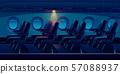 Airplane cabin at night, plane economy class salon 57088937