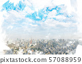 Tokyo landscape watercolor style 57088959
