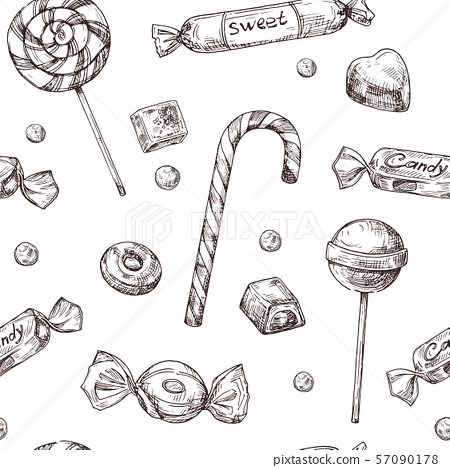 Seamless candy background. Sketch chocolate candy, lollipop and marmalade sweets, hand drawn vector 57090178