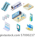 Isometric metro elements. Subway train, station platform and escalator, turnstile and underground 57090237