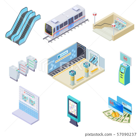 Isometric metro elements. Subway train, station platform and escalator, turnstile and underground 57090237