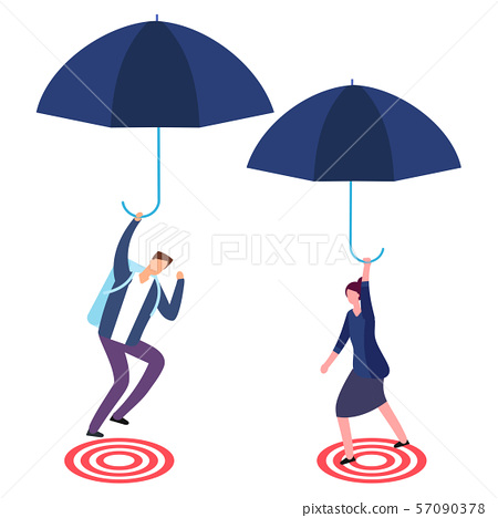 Businessman and businesswoman with umbrella aiming on target. Risky business, success and focus 57090378