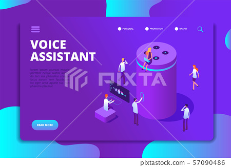Smart speaker concept. Voice assistant, 4ir digital command center and 3d answer. Isometric vector 57090486