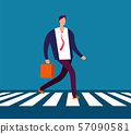 Businessman walking crosswalk. Man in suit going to office crossing street. Business vector concept 57090581
