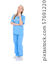 Doctor woman or nurse isolated over white background. Cheerful smiling medical staff representative 57091220