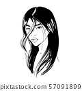 Young Asian girl with black long hair. Fashion vector illustration isolated on white. Can be used as 57091899
