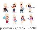 Cook kids. Cartoon chief children preparation meal. Cooking class vector set 57092280