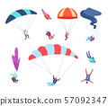 Skydivers set. People jumping with parachutes. Dangerous sports sky jumpers, parachutists cartoon 57092347