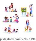Kids in kindergarten. Fun children learning and playing in classroom with teacher. Cartoon vector 57092394