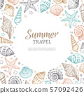 Seashell background. Vintage summer sea shells seastar banner etching style. Marine vector 57092426