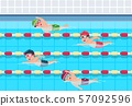 Kids swim. Childrens swimming competition in pool. Sports athletics children vector illustration 57092596