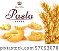 Italian pasta background or poster with wheat 57093078